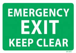 Emergency Exit Keep Clear - PVC sign