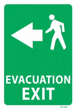 Evacuation Exit with Left Arrow - PVC sign