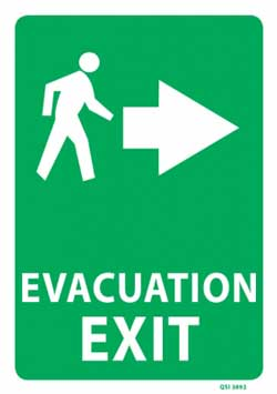 Evacuation Exit Right Arrow - PVC sign