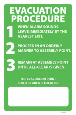 PVC 300mm x 450mm Evacuation Procedure  - PVC sign