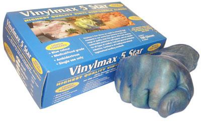 blue vinyl gloves small