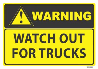 truck warning sign