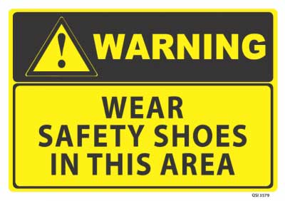 wear safety shoes sign
